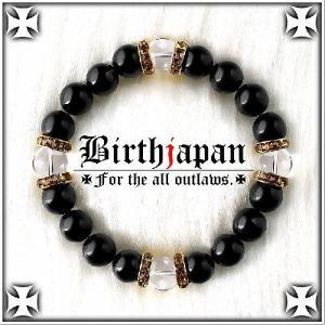 ポイント10倍 水晶数珠ブレスレット 標準10mm ロンデル×オニキス メンズ|birthjapan