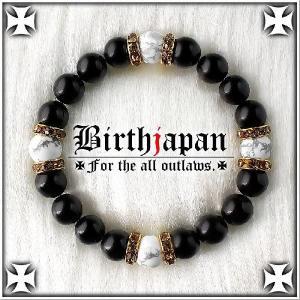 ポイント10倍 オラオラ系 数珠ブレスレット 標準10mm ロンデル×オニキス ハウライト|birthjapan