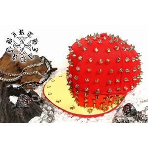 ポイント10倍 帽子77赤-金 トゲトゲスタッズキャップ メンズMen's悪羅悪羅系 オラオラ系 ヤクザ ヤンキー 派手 チンピラ ホストお兄系ギャルオ|birthjapan