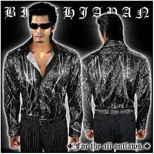 ポイント10倍 047銀 ヤクザ ブランドBLOODMONEYTOKYO ヒョウ×チェーン柄ドレスシャツ Yシャツ 柄シャツ 服 チンピラ ホストスーツ|birthjapan