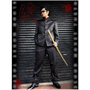 ポイント10倍 13050黒 BLOOD MONEY TOKYOストライプ柄マオカラースーツ 悪羅悪羅系 オラオラ系 派手 服 birthjapan