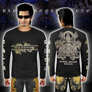 長袖 Tシャツ ロンT 阿修羅龍 ヤクザ ヤンキー 悪羅悪羅 オラオラ系 メンズ 悪羅悪羅系 大きいサイズ 服 17019 黒×金 派手 和柄|birthjapan