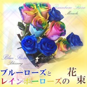 ◆無料のメッセージカード付き◆ オランダ産の最高級クラスのブルーローズ5本とレイボーローズ5本の計1...