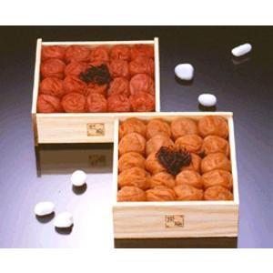 熊平の梅(梅干) 紀州産梅草子 木箱二段重(うす塩味梅・天然しそ漬)|bishokuc