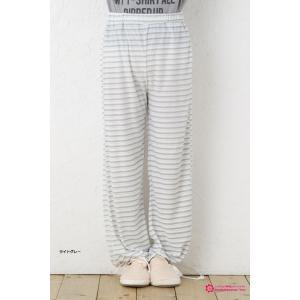 kawa-rela レトロボーダー 2WAY パンツ (裾紐で長さ調節可能です) パジャマ|bisokuhanamai