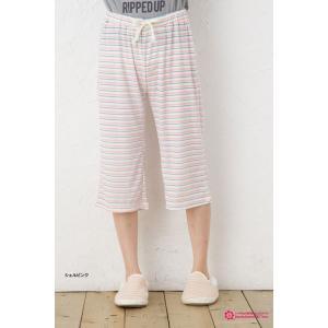kawa-rela レトロボーダー ハーフ パンツ (ひざ下丈) パジャマ|bisokuhanamai