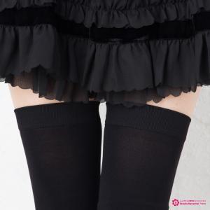 ニーハイトレンカ 太幅 レース付き(黒 ブラック)(レディース)|bisokuhanamai|03