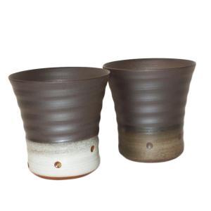 越前焼 焼酎カップ ペアセット (2個入) ハンドメイド酒器 純国産 伝統工芸 焼酎 梅酒 ロックグラス タンブラー おしゃれ ギフト おしゃれ|bisyukiya
