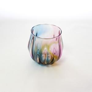 glass calico グラスキャリコ earth (アース) 丸型 ロックグラス ハンドメイド ガラス酒器 ウイスキー 焼酎 グラス ギフト おしゃれ|bisyukiya