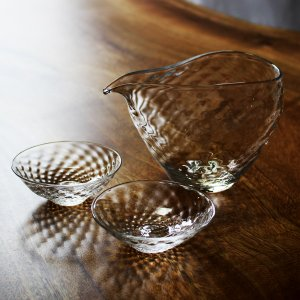 glasscalico グラスキャリコ ハンドメイド ガラス酒器 煌 (きらめき) 冷酒器セット (片口・さかずき 2個) おしゃれ ギフト プレゼント|bisyukiya