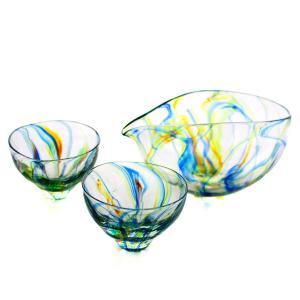 SAIZOU GLASS LABO サイゾウグラスラボ ハンドメイド ガラス酒器 Lotus (ロータス) 冷酒器セット (横型片口・ぐい呑2個)|bisyukiya
