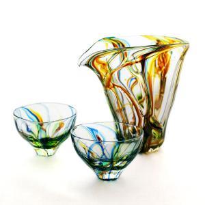 SAIZOU GLASS LABO サイゾウグラスラボ ハンドメイド ガラス酒器 Lotus (ロータス) 冷酒器セット (縦型片口・ぐい呑2個)|bisyukiya