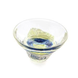 SAIZOU GLASS LABO サイゾウグラスラボ ハンドメイド ガラス酒器 ミズノワクバショ ぐい呑 (青) 冷酒器|bisyukiya
