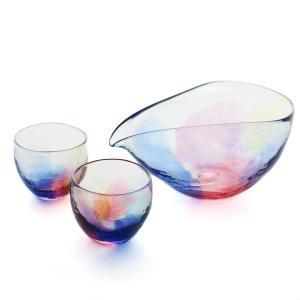 SAIZOU GLASS LABO サイゾウグラスラボ ハンドメイド ガラス酒器 虹のカタチ 冷酒器セット (横型片口・ぐい呑2個)|bisyukiya