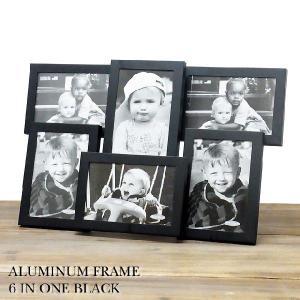 写真立て フォトフレーム アルミニウムファミリーフレーム ブラック aluminum frame 6 in one BLACK あすつく|bit