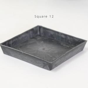 スクエアソーサー12cm【サボテン/頑丈/おしゃれ/塊根植物/多肉/黒プラスチック鉢 】|biyori