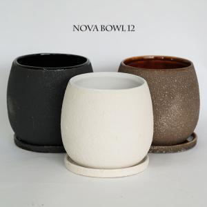 植木鉢 おしゃれ 陶器鉢  ノヴァボウル12 受皿付【ポット/セラミック/釉薬】
