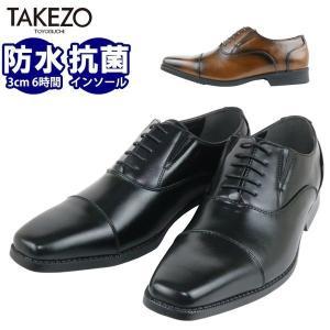 TAKEZO ビジネスシューズ メンズ 防水 ストレートチップ タケゾー 3E フォーマル 革靴 消臭 抗菌 黒 ブラック|bizakplus
