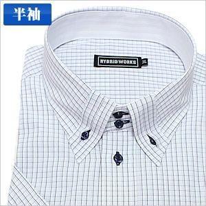 切り返し襟ボタンダウン 紺×ピンク チェック 半袖ワイシャツ 半袖シャツ メンズ 半袖 ワイシャツ ...