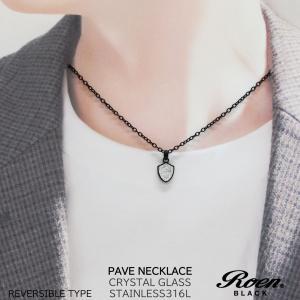 Roen Black ロエン アクセサリー メンズ ネックレス ペンダント 金属アレルギー 対応 スカル ステンレス ブラック|bj-direct