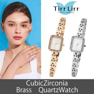 腕時計 レディース メタル ベルト ウォッチ TirrLirr ティルリル シルバー ピンク ゴールド 白 キュービック ジルコニア 四角 ギフト 人気|bj-direct