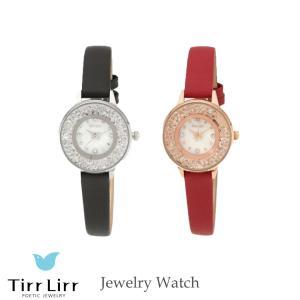 腕時計 時計 レディース 革ベルト 牛革 黒 赤 シルバー TirrLirr ティルリル ギフト 韓国 ファッション クウォーツ キュービック ジルコニア bj-direct