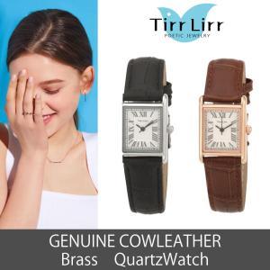 腕時計 時計 レディース 革ベルト 四角 牛革 黒 赤 シルバー TirrLirr ティルリル ギフト 韓国 ファッション クウォーツ|bj-direct