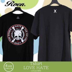 ロエン roen メンズ レディース ファッション Tシャツ カットソー ブラック 黒 半袖 プリント ロゴ スカル 丸首 ストリート カジュアル ギフトの商品画像|ナビ