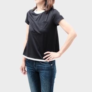 【sizeXS】モンクレール MONCLER コットン 半袖 Tシャツ ブラック基調 [レディース] 8066900 8390X 999 送料無料|bjkyoto