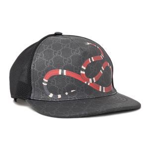 853956a6b608 グッチ GUCCI GGスプリームキャンバス キングスネークプリント ベースボール キャップ 帽子 ブラック×グレー [メンズ] 426887  4HB10 1060