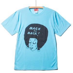 Back to Back バック・トゥ・バック オリジナル ドライ&コットンタッチTシャツ Afro アフロ ライトブルー 吸水速乾|bk2bk