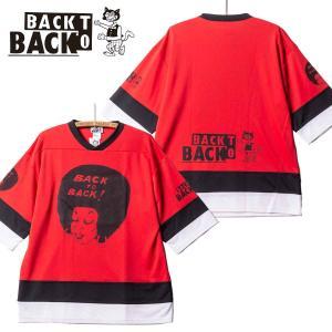 Back to Back バック・トゥ・バック オリジナル・ホッケーTシャツ アフロ&ウルフ レッド|bk2bk