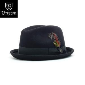 ブリクストン ゲイン・フェドラ Brixton GAIN FEDORA 中折れ帽 フェドーラ ショートブリム ブラック [正規品]|bk2bk