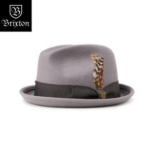 ブリクストン ゲイン・フェドラ Brixton GAIN FEDORA 中折れ帽 フェドーラ ショートブリム グレー チャコール [正規品]|bk2bk