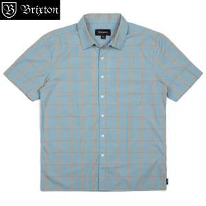 ブリクストン ハットン ショートスリーブシャツ ウーブン  Brixton HUTTON S/S WOVEN  半袖シャツ チェックシャツ ライトブルー #01076 [正規品]|bk2bk