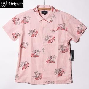 ブリクストン ブエラー ショートスリーブシャツ ウーブン ピンク Brixton BUELLER AS S/S WOVEN Pink 半袖シャツ 総柄 プレミアムフィット [正規品]|bk2bk