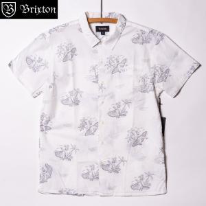 ブリクストン ブエラー ショートスリーブシャツ ウーブン ホワイト Brixton BUELLER AS S/S WOVEN White 半袖シャツ 総柄 プレミアムフィット [正規品]|bk2bk