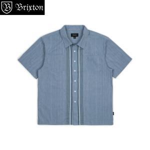 ブリクストン クルーズ ショートスリーブシャツ ウーブン  Brixton CRUZE AS S/S WOVEN  半袖シャツ ライトブルー アジアンサイズ #01119 [正規品]|bk2bk