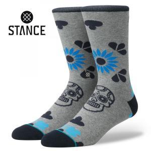 STANCE Socks DIA スタンスソックス ダイア スカル グレー 200ニードルソックス [正規品]|bk2bk