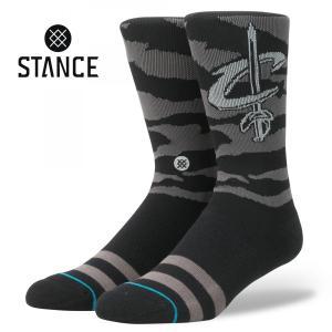 STANCE Socks NIGHTFALL CAVALIERS スタンスソックス ナイトフォール・キャバリアーズ NBA Casual Series カジュアルシリーズ 迷彩 靴下 [正規品] bk2bk