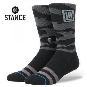 STANCE Socks NIGHTFALL CLIPPERS スタンスソックス ナイトフォール・クリッパーズ NBA Casual Series カジュアルシリーズ 迷彩 靴下 [正規品] bk2bk
