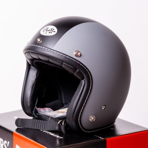 SIRANO BROS. MOTORCYCLE EQUIPMENT - 3/4 OPEN FACE MOTORCYCLE HELMET, Plain model グレー&ブラック シラノブロス|bk2bk