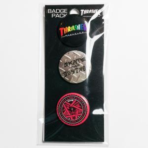 スラッシャー・マガジン 缶バッジ(H) THRASHER MAGAZINE Badges 3個セット|bk2bk