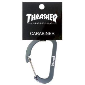 スラッシャー カラビナ THRASHER MAGAZINE Carabiner グレー キーホルダー|bk2bk