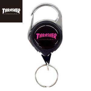 スラッシャー リールキーホルダー THRASHER MAGAZINE ReelKeyholder ワイヤー付きキーホルダー ブラック&ピンク|bk2bk