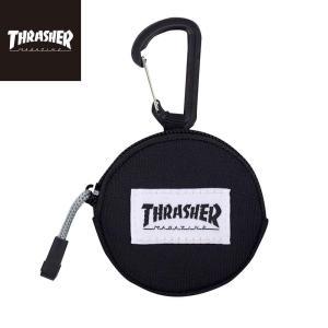 スラッシャー ラウンドミニケース THRASHER MAGAZINE Round MiniCase 小銭入れ コインケース イヤホンケース ブラック|bk2bk