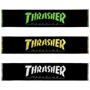 スラッシャー マフラータオル THRASHER MAGAZINE Towel ホワイト イエロー グリーン|bk2bk