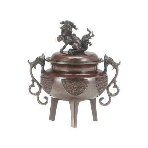 高岡銅器 全品送料無料 香炉 至高 大和型獅子蓋 徳色 小 131-02