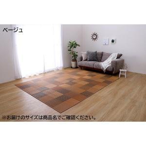 純国産 日本製 袋織 い草ラグカーペット 当店一番人気 裏:不織布 現品 約191×300cm DX京刺子 ベージュ