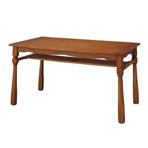 送料無料限定セール中 カントリー調 ダイニングテーブル リビングテーブル 〔幅135cm〕 至高 収納棚付き ヘリオス 木製